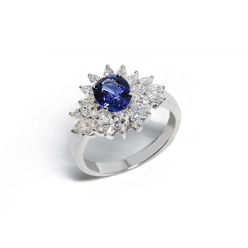 Blue Sapphire Diamond Ring (750 White Gold)