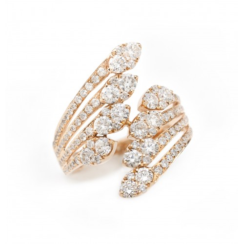 Shimmering Crown Diamond Ring (750 Rose Gold)