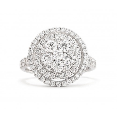 Halo Diamond Ring (750 White Gold)