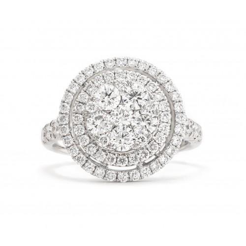 Halo Diamond Ring (750 White Gold)