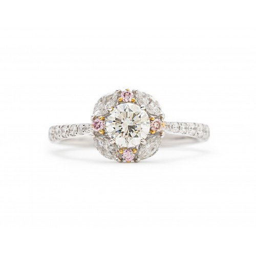 Floral Diamond Ring (750 White Gold)