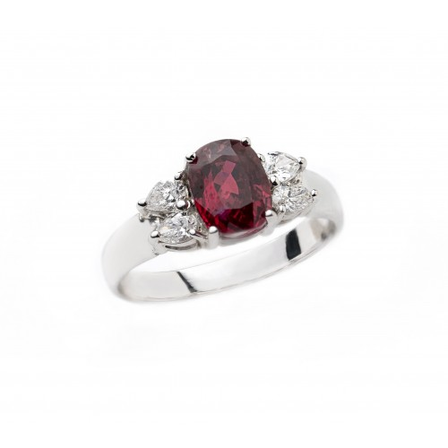 Unheated Ruby Diamond Ring (750 White Gold)