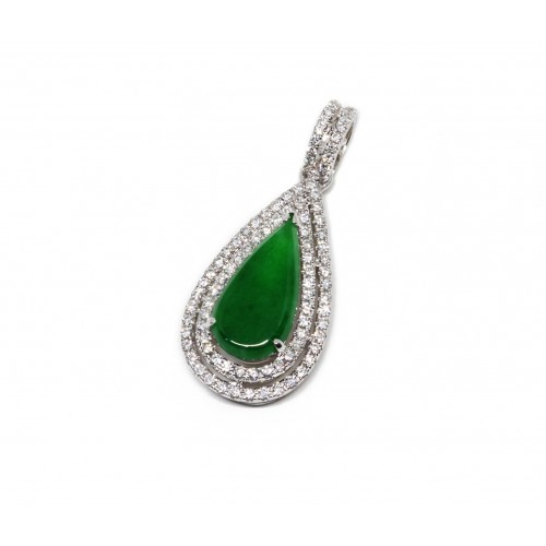 'A' Grade Teardrop Jade Diamond Pendant (750 White Gold)
