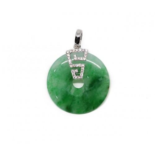 'A' Grade Round Jade Diamond Pendant (750 White Gold)