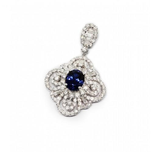 Blue Sapphire Diamond Pendant (750 White Gold)