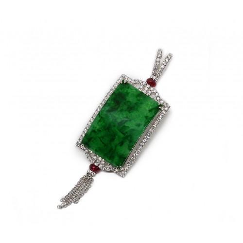 Imperial Jade Diamond Pendant (750 White Gold)