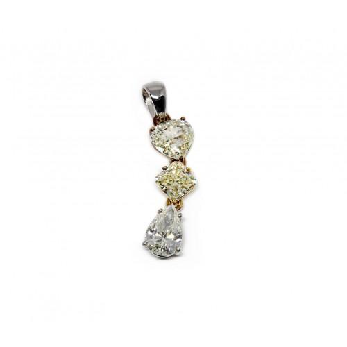 Trio of Trios Fancy Diamond Pendant (750 White, Yellow and Rose Gold)