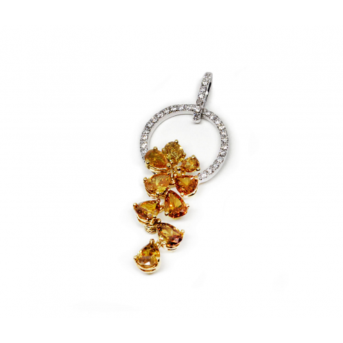 Fancy Yellow Diamond Pendant (750 White and Yellow Gold)
