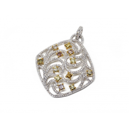 Fancy Coloured Diamond Pendant (750 White and Yellow Gold)