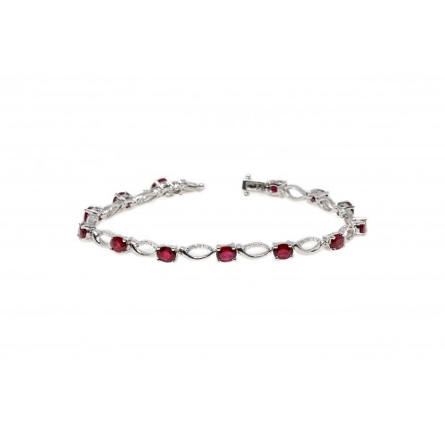 Ruby Diamond Bracelet (750 White Gold)