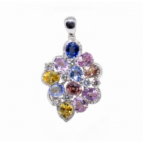 Coloured Sapphire Diamond Pendant (750 White Gold)