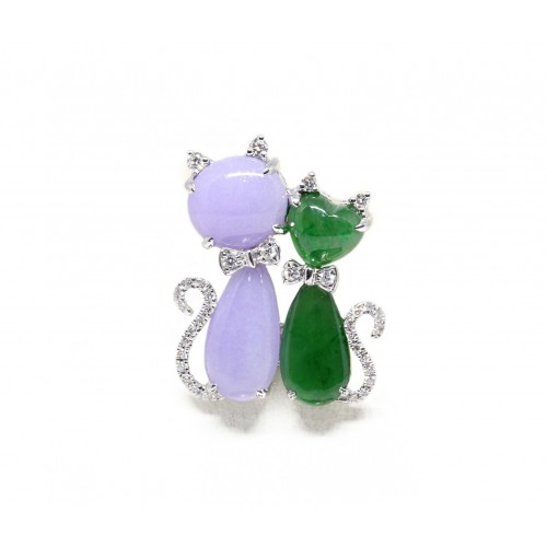 Twin Jade Kittens Diamond Pendant (750 White Gold)