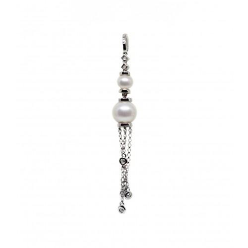 Cultured Pearl Diamond Pendant (750 White Gold)