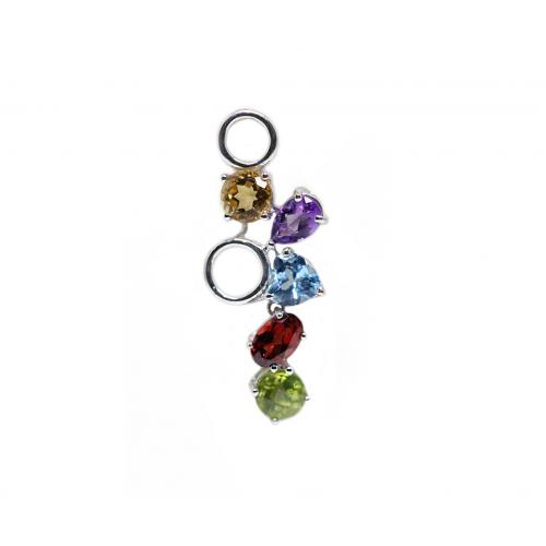 Penta Coloured Stones Pendant (750 White Gold)