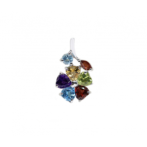 Hepta Coloured Stones Pendant (750 White Gold)