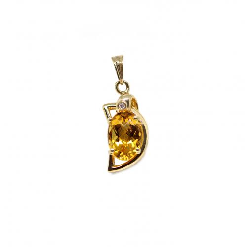 Yellow Topaz Diamond Pendant (750 Yellow Gold)