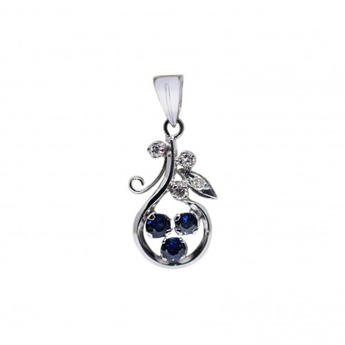 Blue Sapphire Diamond Pendant (850 White Gold)