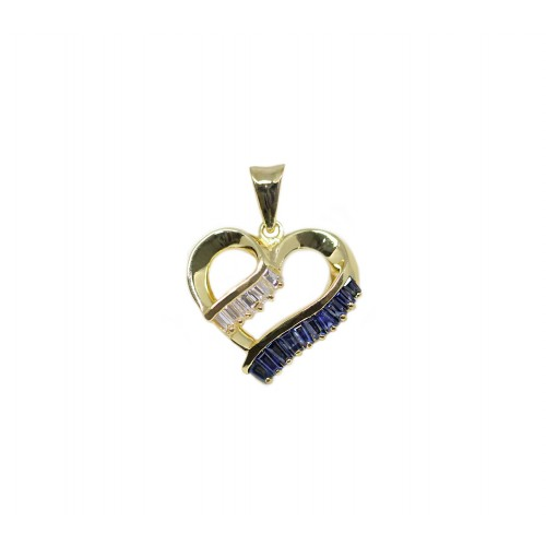 Blue Sapphire Diamond Pendant (850 Yellow Gold)