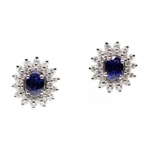 Blue Sapphire Diamond Earrings (750 White Gold)