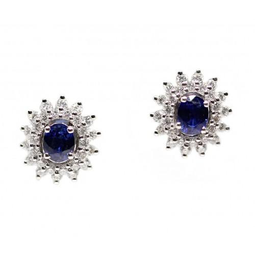 Blue Sapphire Diamond Earrings (750 White Gold)
