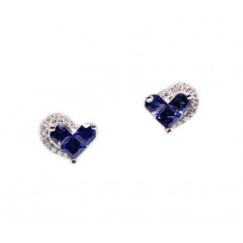 Joyful Hearts Blue Sapphire Diamond Earrings (750 White Gold)
