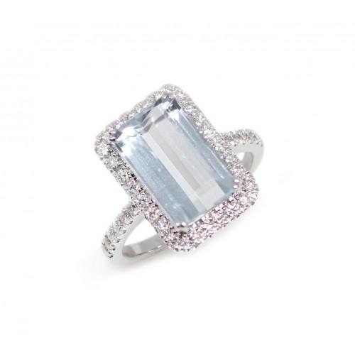 Aquamarine Diamond Ring (750 White Gold)