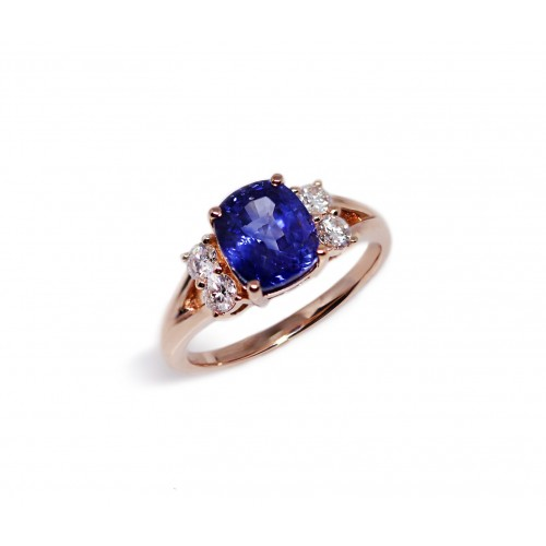 Cushion Cut Blue Sapphire Rose Diamond Ring (750 Rose Gold)