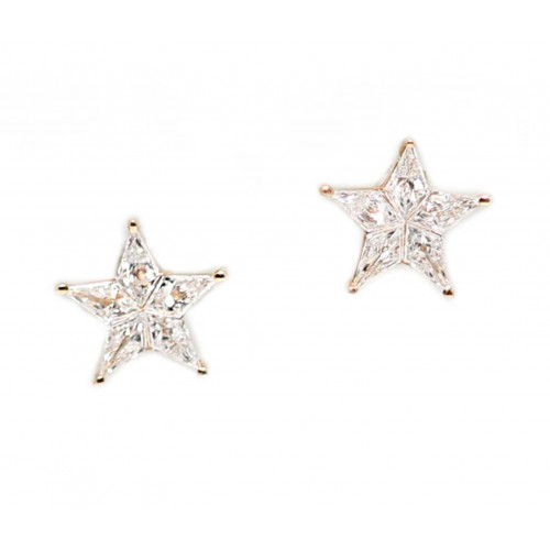 Shimmering Star Earrings (750 Rose Gold)