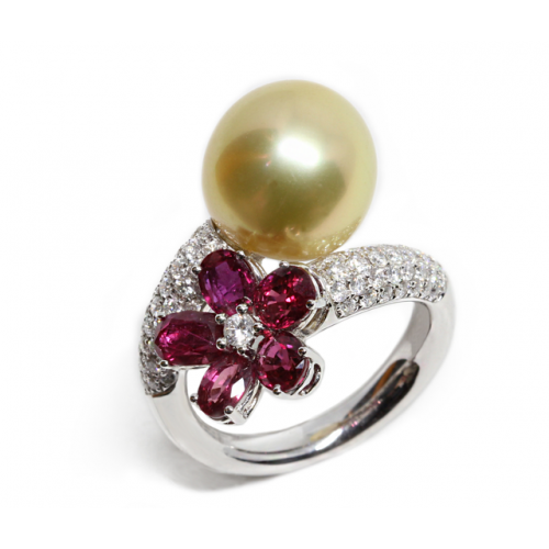 South Sea Pearl Ruby Diamond Ring (750 White Gold)