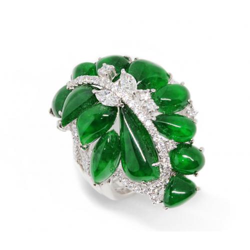 'A' Grade Jade Blossom Diamond Ring (750 White Gold)