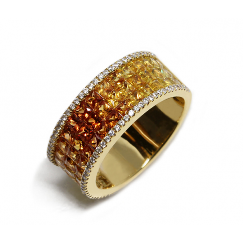 Coloured Sapphires Diamond Ring (750 Yellow Gold)