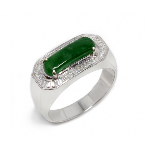 'A' Grade Oblong Jade Diamond Ring (750 White Gold)