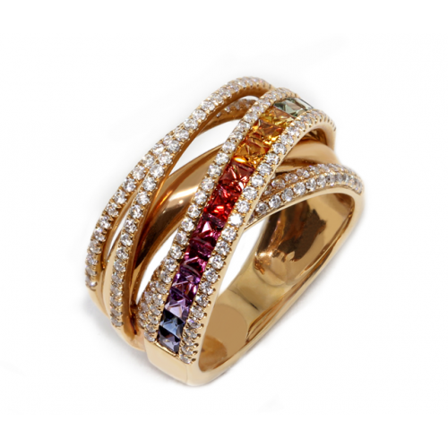 Coloured Sapphires Diamond Ring (750 Rose Gold)