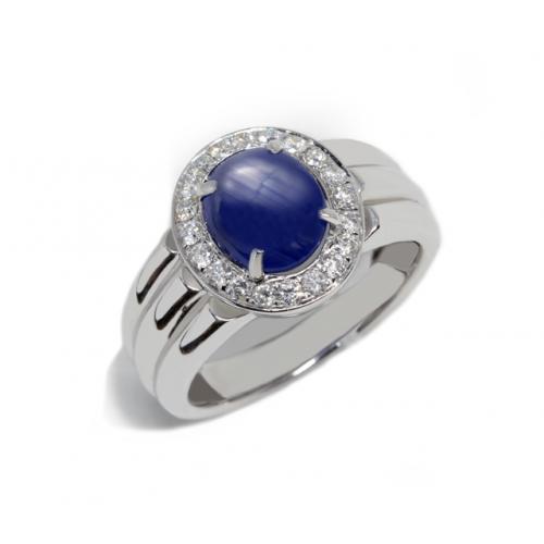 Tri-Band Blue Sapphire Diamond Ring (750 White Gold)