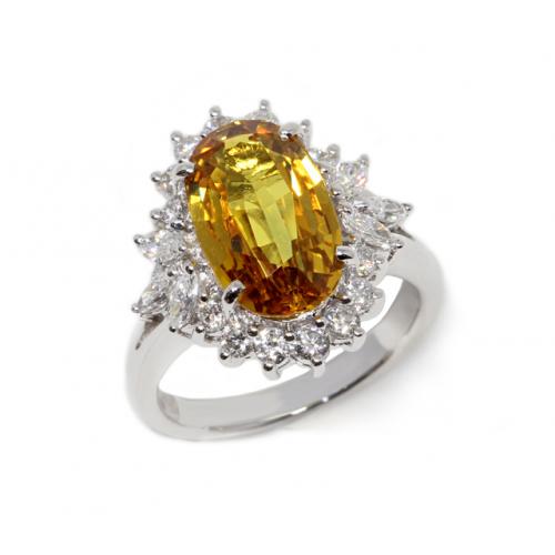 Yellow Sapphire Diamond Ring (750 White Gold)