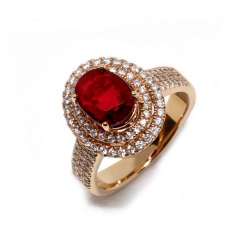Ruby (Unheated) Diamond Ring (750 Rose Gold)