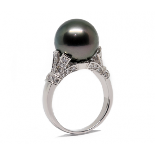 South Sea Pearl Diamond Ring (750 White Gold)