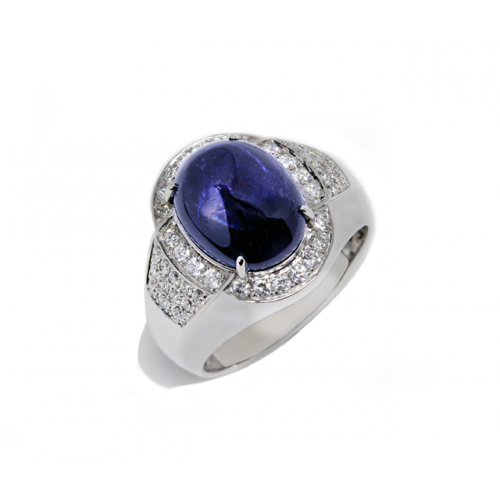 Cabochon Blue Sapphire Diamond Ring (750 White Gold)
