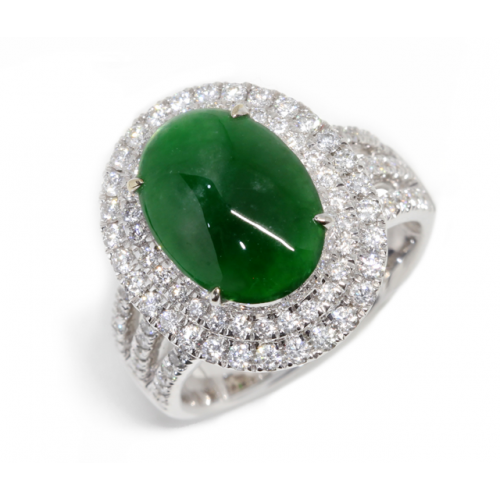 'A' Grade Cabochon Jade Diamond Ring (750 White Gold)