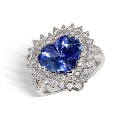 Heart-Shaped Blue Sapphire Diamond Ring (750 White Gold)