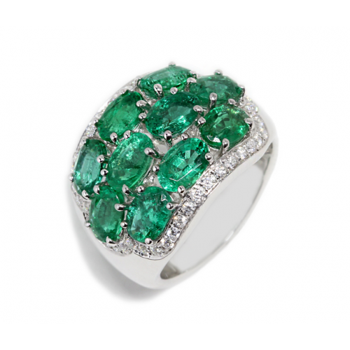 Oval Emerald Diamond Ring (750 White Gold)