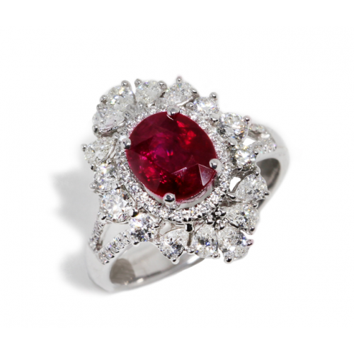 Ruby Diamond Ring (750 White Gold)