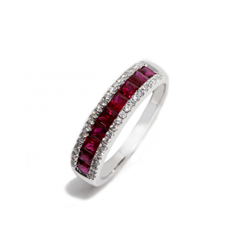 Ruby Diamond Ring (750 White Gold)