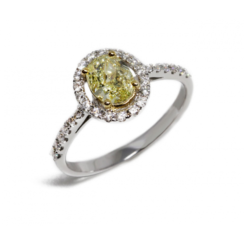 Fancy Yellow Diamond Ring (750 White Gold)