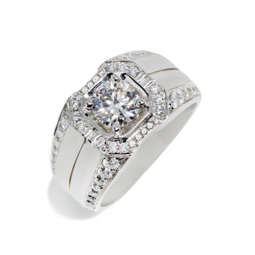 Round Brilliant Diamond Ring (750 White Gold)