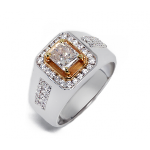 Princess Cut Diamond Ring (750 White & Rose Gold)