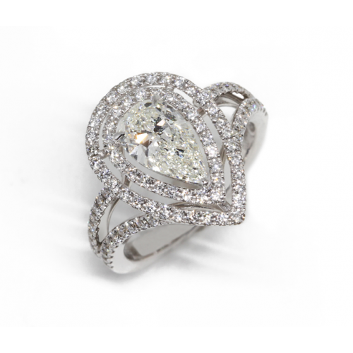 Pear-Shaped Diamond Ring (750 White Gold)